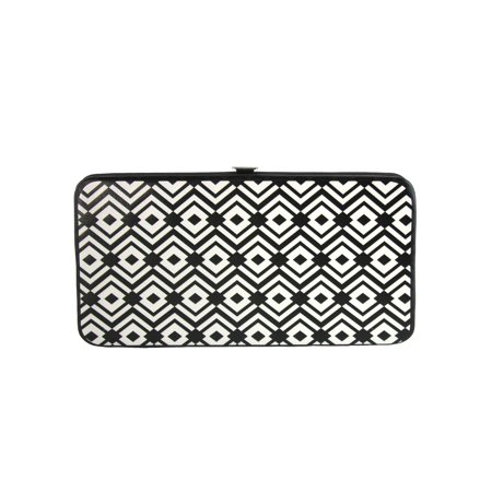 (Size one size Women's Aztec Print Hinged Card Case Wallet, Black)