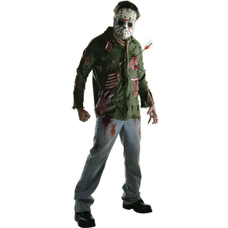 Friday The 13th Movie Deluxe Jason Voorhees Adult Mens Halloween Costume & Mask](Friday The 13th Halloween Costumes)