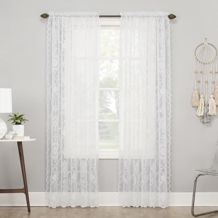 Mainstays Arlette Rod Pocket Lace Curtain Panel ()