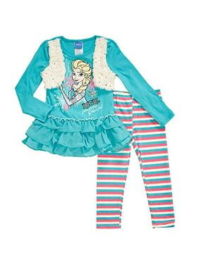 Disney Frozen Girls Elsa Faux Fur Leggings Set 2t-6x (4) ...