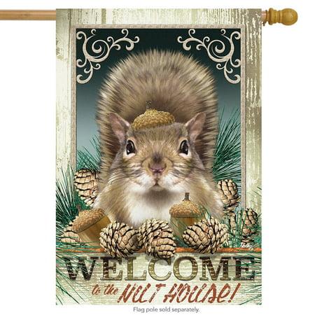 nut house fall house flag squirrel humor autumn 28