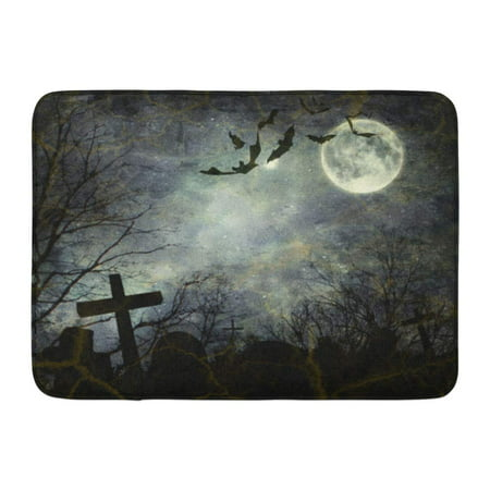 GODPOK Graveyard Black Horror Halloween Bats Flying in The Night with Full Moon Ghost Haunted Rug Doormat Bath Mat 23.6x15.7 inch - Halloween Horror Nights Pics