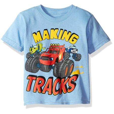 Nickelodeon Little Boys' Toddler Blaze Making Tracks Short Sleeve T-Shirt, Sky Blue, 4T ()