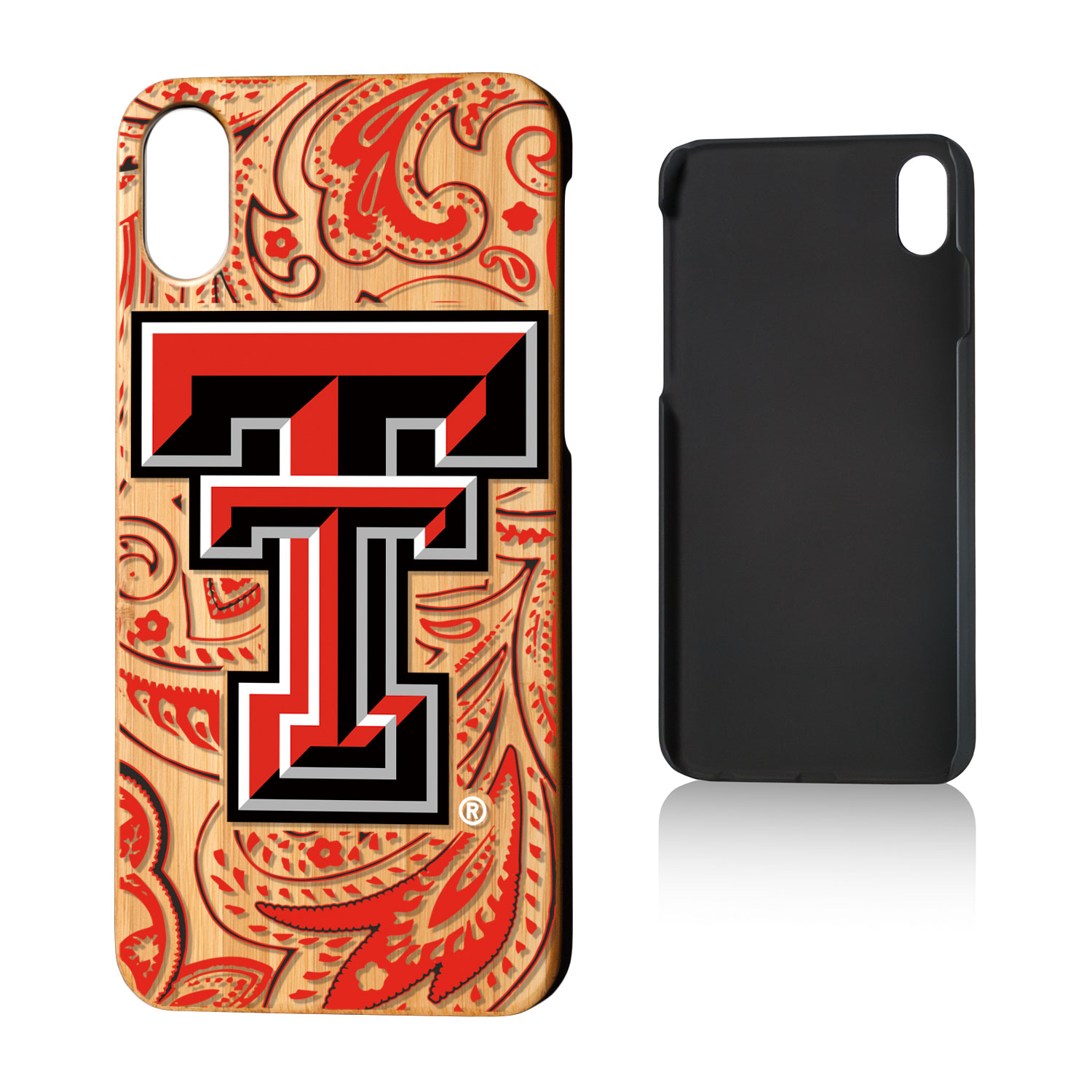 TT Texas Tech Red Raiders Paisley Bamboo Case for iPhone X