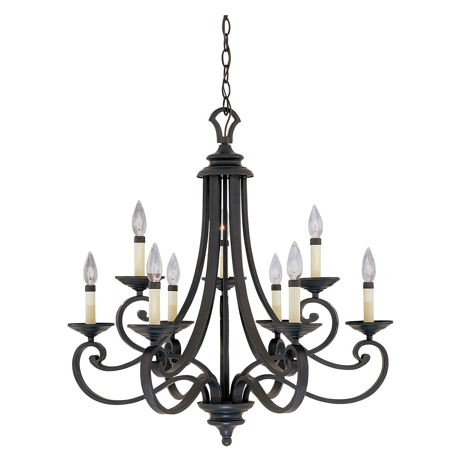 Designers Fountain 9039 Barcelona 9 Light Chandelier in Natural Iron Finish
