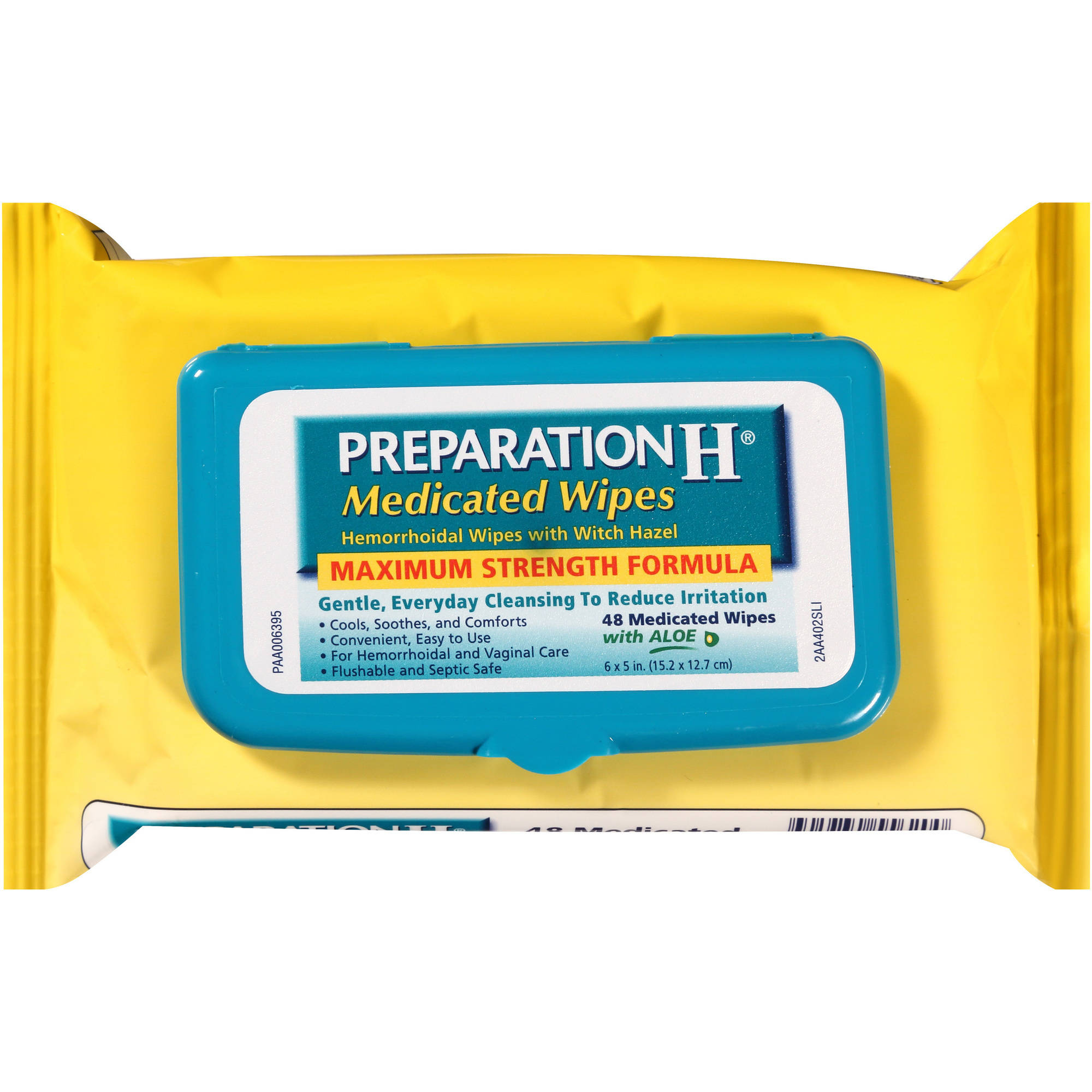 Preparation H Medicated Wipes Hemorrhoidal Wipes with Witch Hazel, 48 count