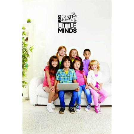 Custom Wall Decal Sticker - Big Heart Little Minds Daycare Preschool School Kids Playroom Boy Girl Home Decor 12x18