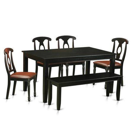 Faux Leather Kitchen Table Set Table 4 Chairs Coupled With A Bench Black 6 Piece