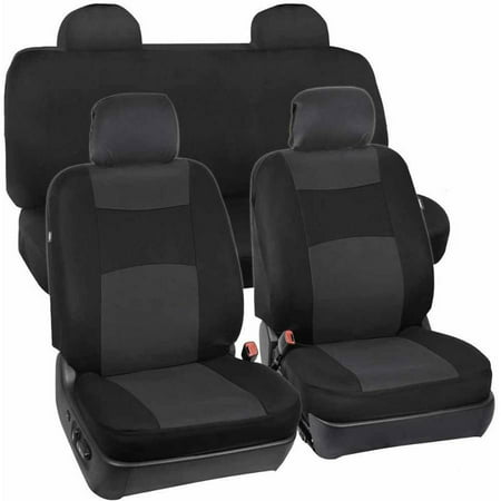 BDK Car Seat Covers 9pc Polyester Cloth 2 Front and Integrated Headreasts Rear Bench, High Back Rear