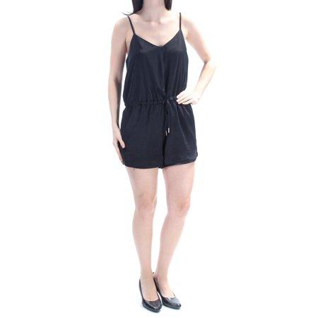 Guess Ladies Strap - GUESS Womens Black Tie Spaghetti Strap V Neck Straight leg Party Romper  Size: S