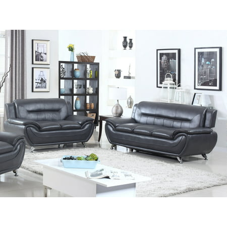 - Norton 2 pc Black Faux Leather Modern Living Room Sofa and Loveseat set