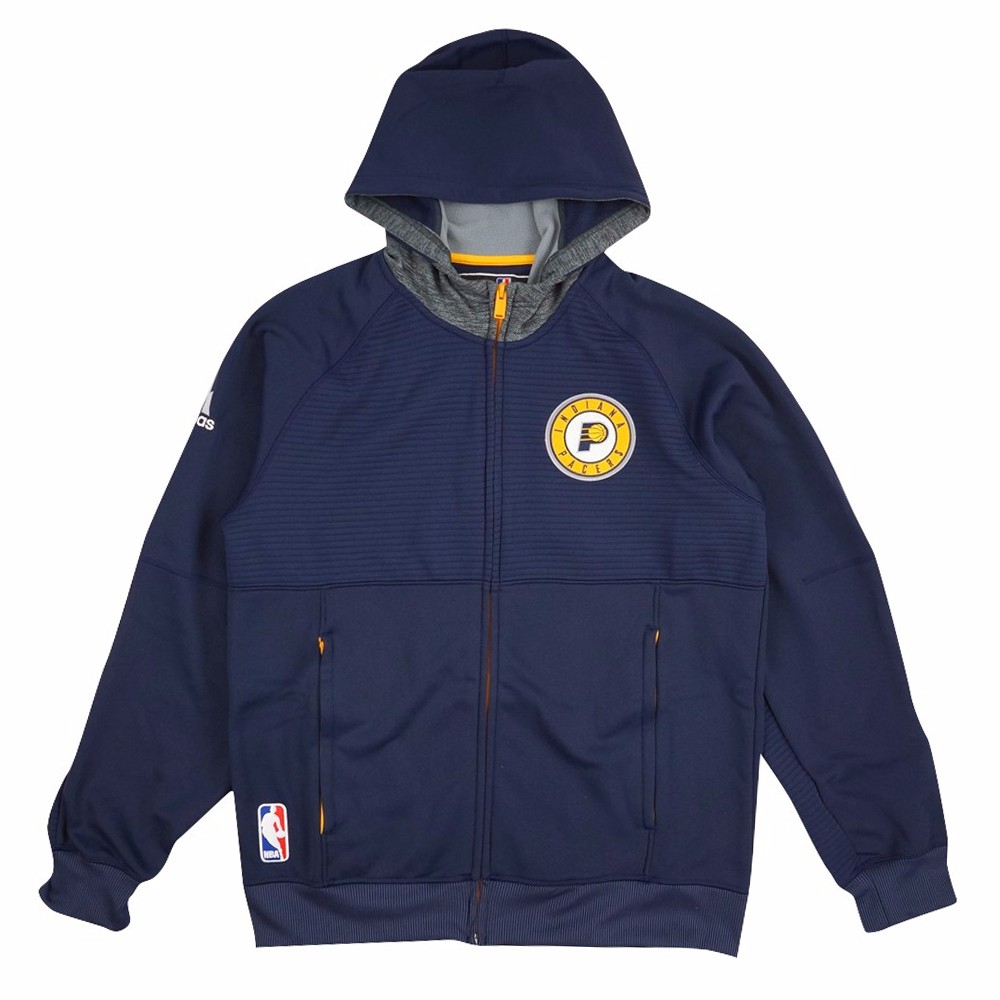 Indiana Pacers NBA Adidas Navy Blue Team Issued Pre-Game Full Zip Hooded Pro Cut Jacket Jacket For Men by Adidas