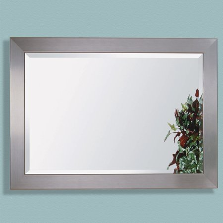Stainless Steel Finished Wood Framed Mirror - 30W x 42H in.