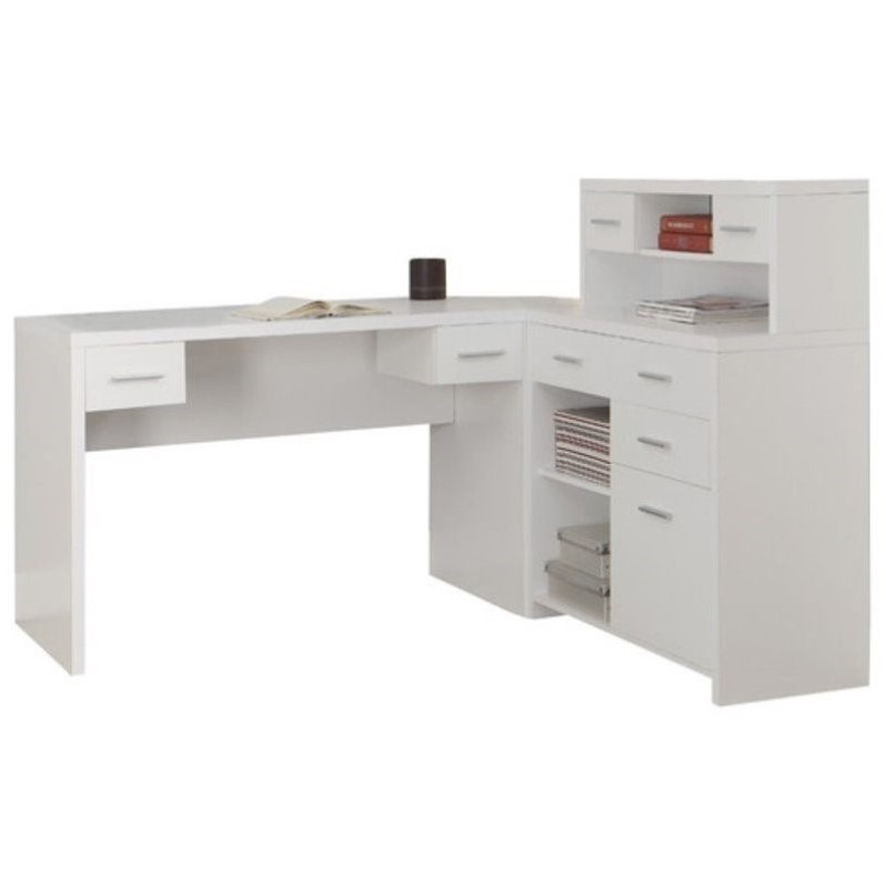 Charmant Pemberly Row L Shaped Home Office Desk With Hutch In White