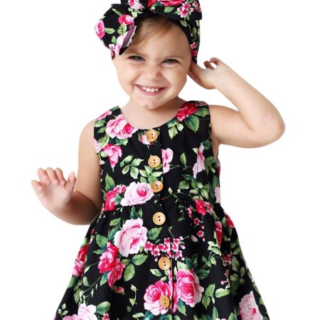 Show Girl Outfits (Lavaport Kid Girl Flower Printed Sundress Dress + Hairband Outfits)