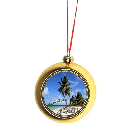 Santa Klaus and Sleigh Riding Over Punta Cana Beach Dominican Republic Bauble Christmas Ornaments Gold Bauble Tree Decoration](Beach Christmas Decorations)