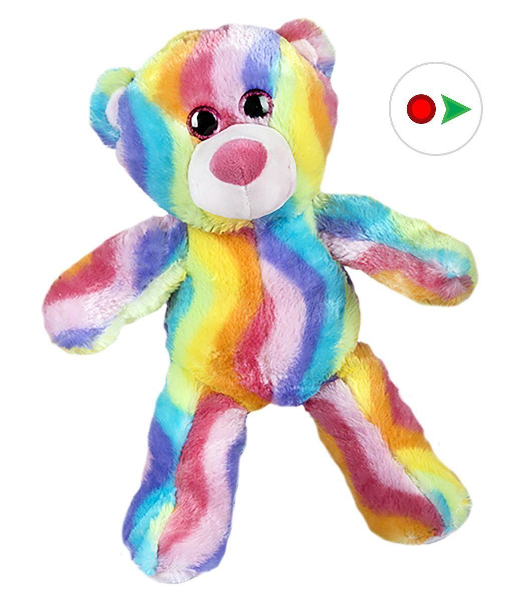 Record Your Own Plush 16 inch Rainbow Stripe Teddy Bear Ready To Love In A Few Easy Steps by Teddy Mountain