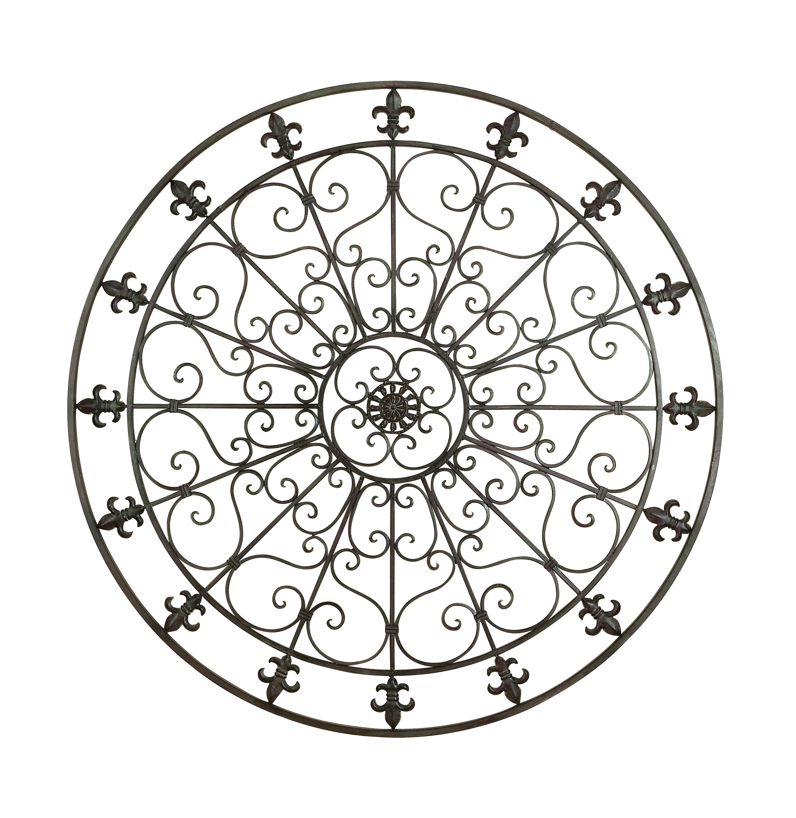 Decmode Rustic 42 Inch Fleur-De-Lis and Scrollwork Round Metal Wall Decor