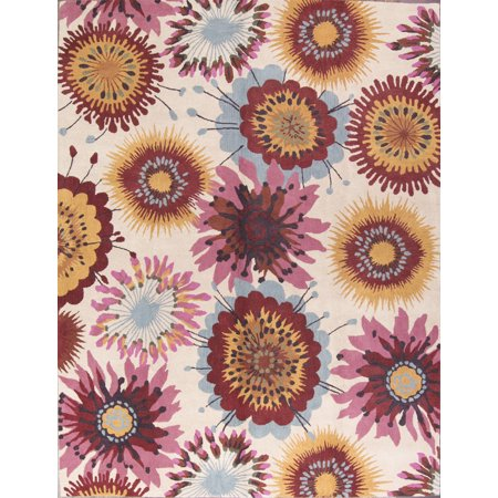 Transitional Floral Hand-Tufted Oriental 10x13 Wool Large Area Rug ()