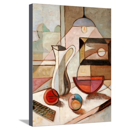 - Abstract Oil Painting of Still Life with Pitcher and Fruits Stretched Canvas Print Wall Art By Gino Santa Maria