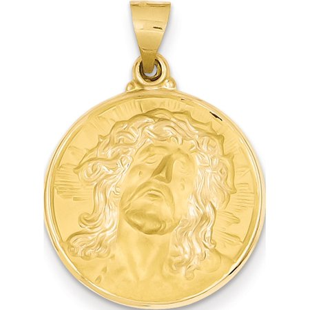 Leslies Fine Jewelry Designer 14k Yellow Gold Polished and Satin Face of Jesus Medal (21x24mm) Pendant Gift