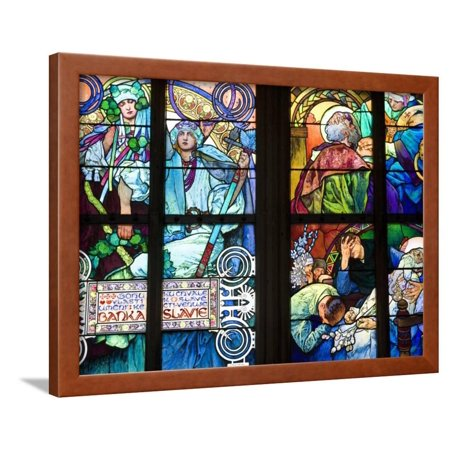 Stained Glass Window, St. Vitus's Cathedral, Prague, Czech Republic, Europe Framed Print Wall Art By Martin (European Glasses Frames)