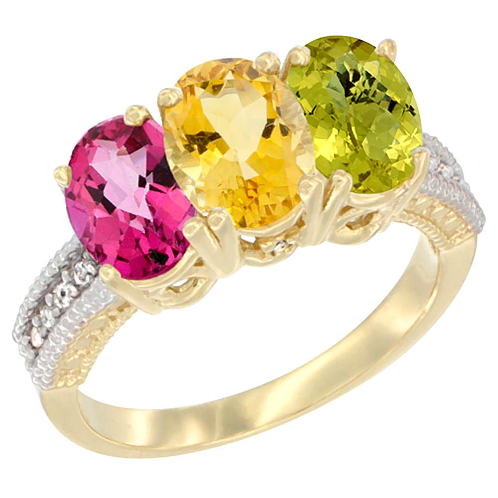 10K Yellow Gold Diamond Natural Pink Topaz, Citrine & Lemon Quartz Ring 3-Stone Oval 7x5 mm, sizes 5 10 by WorldJewels
