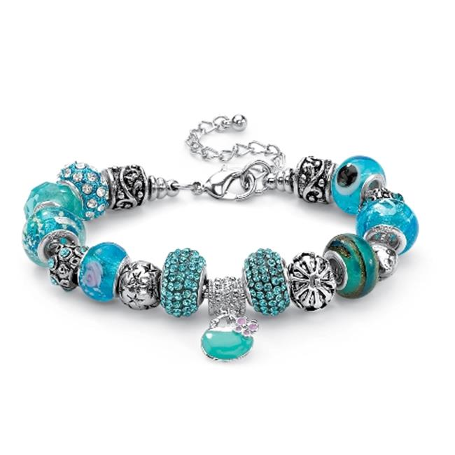 PalmBeach Jewelry 52165 Round Baby Blue Crystal Silvertone Metal Bali-Style Beaded Charm and Spacer Bracelet 8''