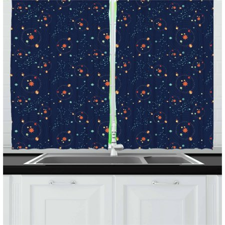 Astrology Curtains 2 Panels Set, Solar System Planet Astronomy Cosmos Galaxy Mysterious Universe, Window Drapes for Living Room Bedroom, 55W X 39L Inches, Dark Blue Orange Turquoise, by