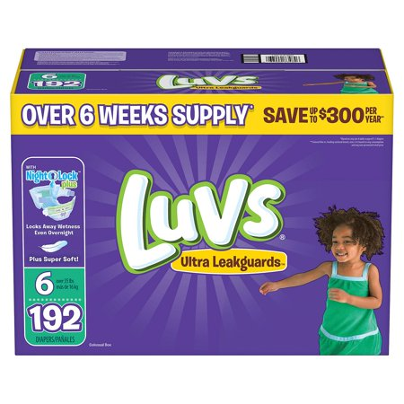 Free Diapers - Luvs Ultra Leakguards Diapers Size Size 6 - 192 ct. - Bulk Qty, Free Shipping - Comfortable, Soft, No leaking & Good nite Diapers