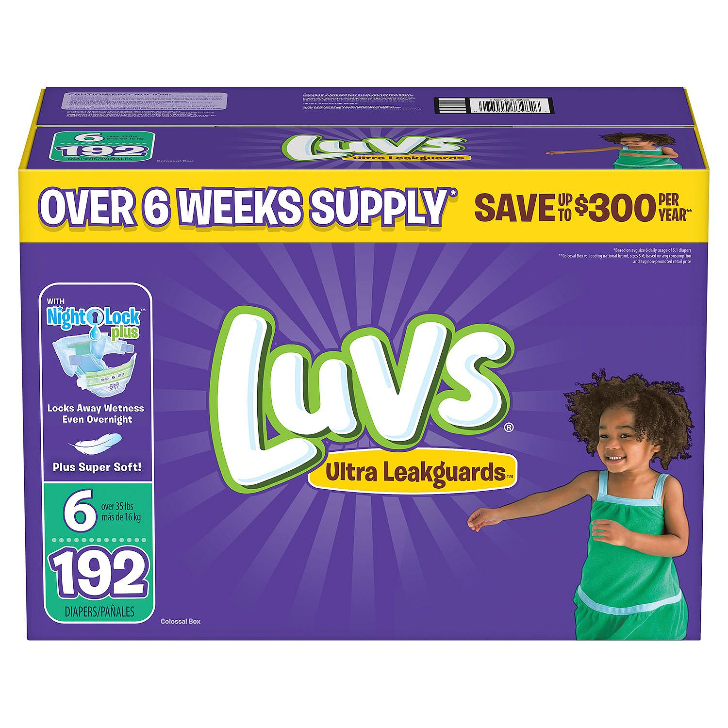 Luvs Ultra Leakguards Diapers Size Size 6 - 192 ct. - Bulk Qty, Free Shipping - Comfortable, Soft, No leaking & Good nite Diapers
