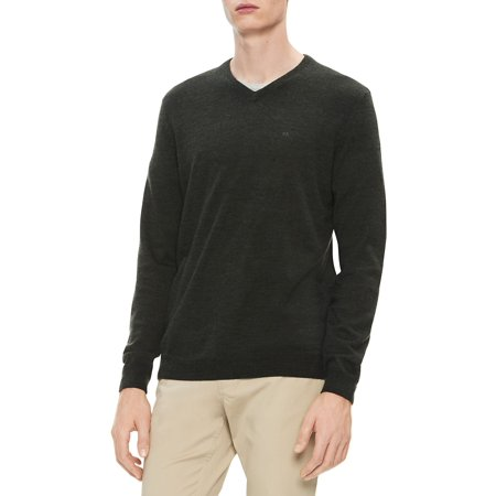 Regular-Fit Extra-Fine Merino Wool V-Neck Sweater Gray Wool V-neck Sweater