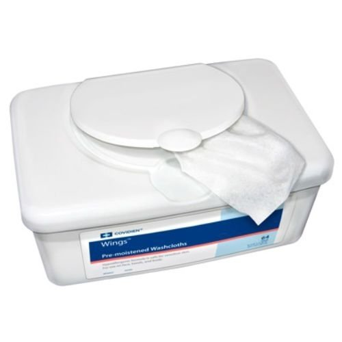 """Covidien 6699N Wings Pre-moistened Washcloths, 8-7/10"""" x 11-8/10"""" Size (64 count)"""
