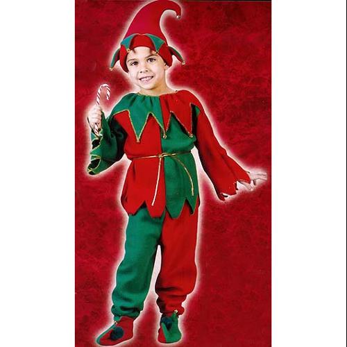 6-Piece Children's Plush Christmas Elf Costume - Size Large (12-14)