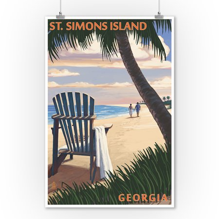 St. Simons Island, Georgia - Adirondack - Lantern Press Artwork (9x12 Art Print, Wall Decor Travel