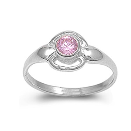 Pink CZ Bezel Round Solitaire Cute Ring New .925 Sterling Silver Band Size 4