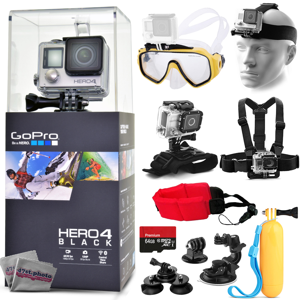 GoPro Hero 4 HERO4 Black Edition CHDHX-401 Kit w/ 64GB Memory + Diving Mask + Floating Opteka HandGrip + Head, Chest and Wrist Mount + Buoy Foam Strap + Tripod Monopod Adapter + Car Window Suction Cup GPH4BJUNEBASE