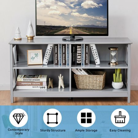 Gymax TV Stand Entertainment Media Center for TV's up to 55'' w/ Storage Shelves Gray - image 2 of 10