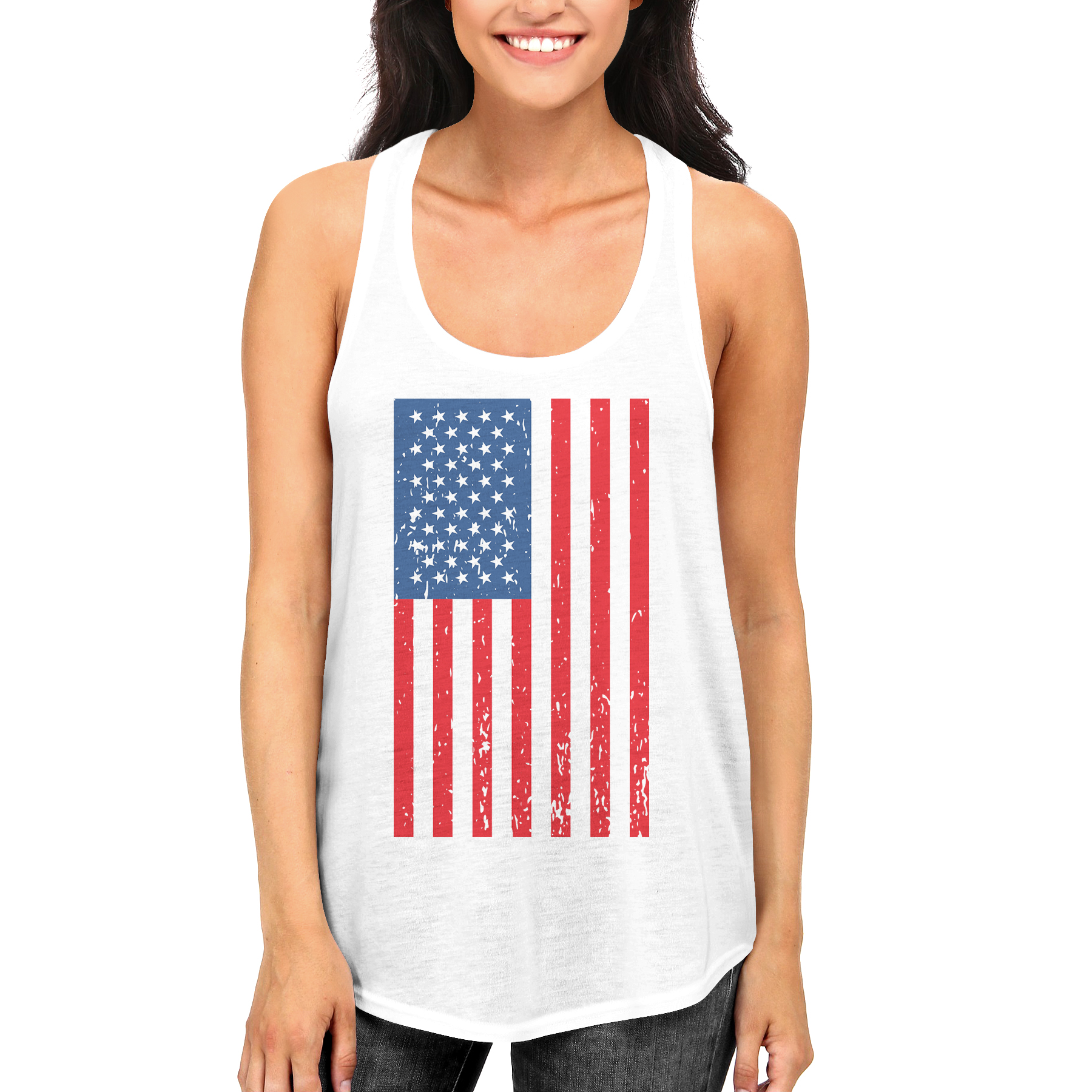 American Flag Cute independence Day RacerBack for Women Fourth of july Tank Top