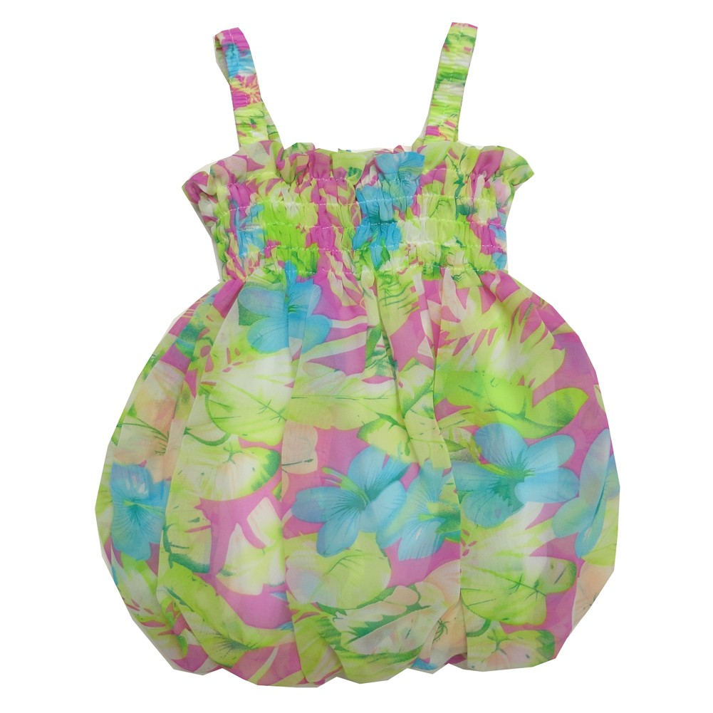 Baby Girls Lilac Green Floral Print Strap Bubble Chiffon Dress 6-24M