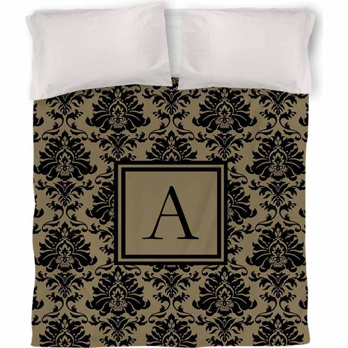IDG Damask Monogram Duvet Cover, Black and Gold