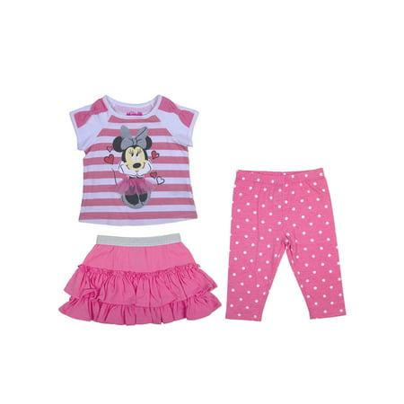 Minnie Mouse Toddler Girl T-Shirt, Ruffle Skirt & Leggings, 3pc Outfit Set - Minnie Mouse Outfit For Women