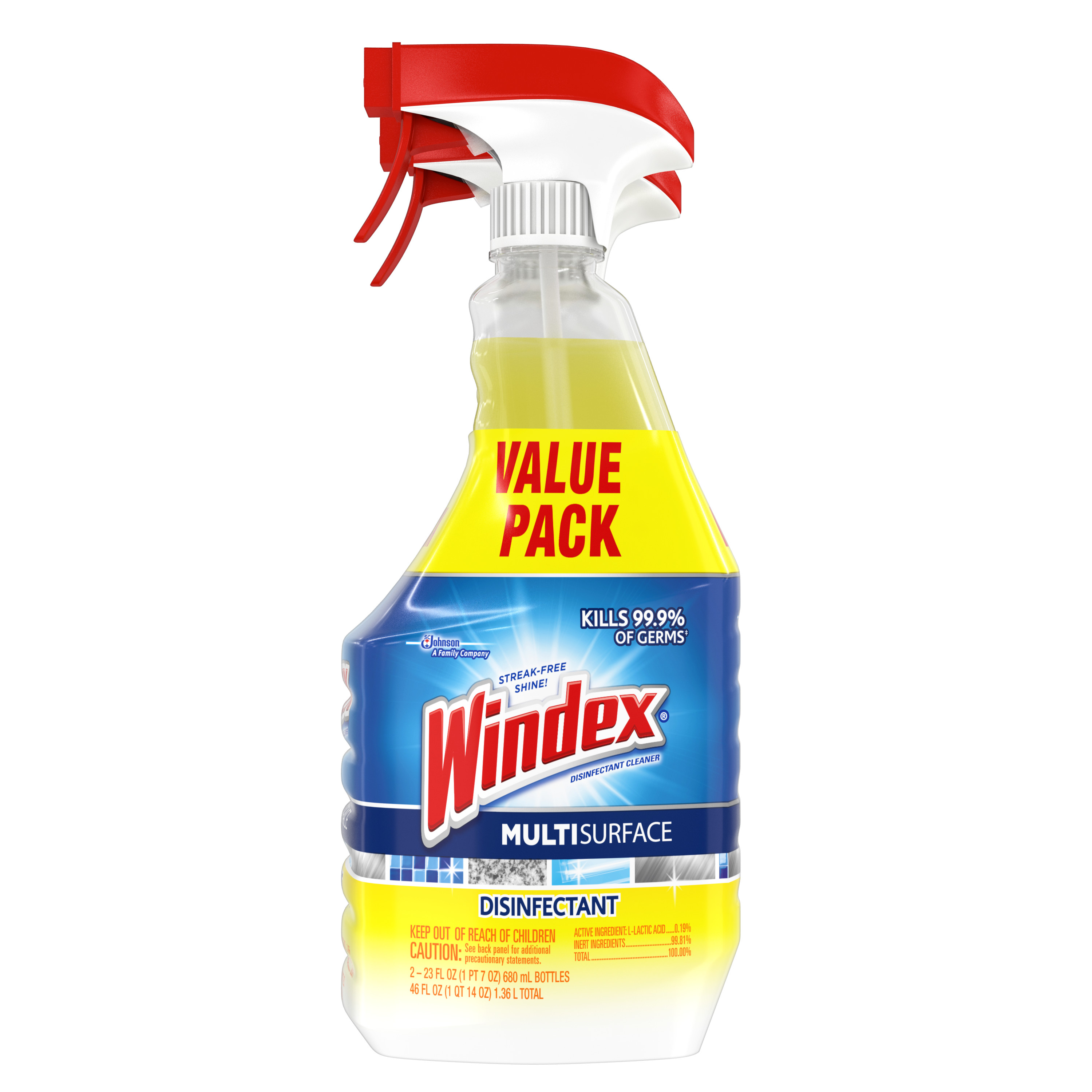 Windex Disinfectant Cleaner Multi-Surface Trigger, 2 count, 23 Fluid Ounces