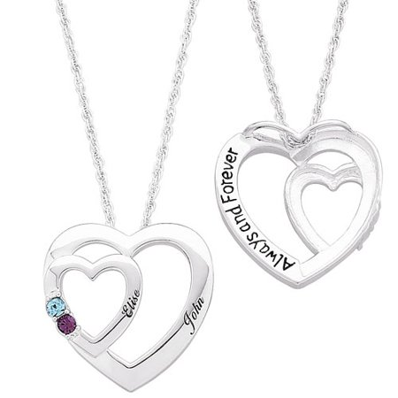 Family jewelry womens personalized sterling silver couples two family jewelry womens personalized sterling silver couples two heart pendant aloadofball Image collections