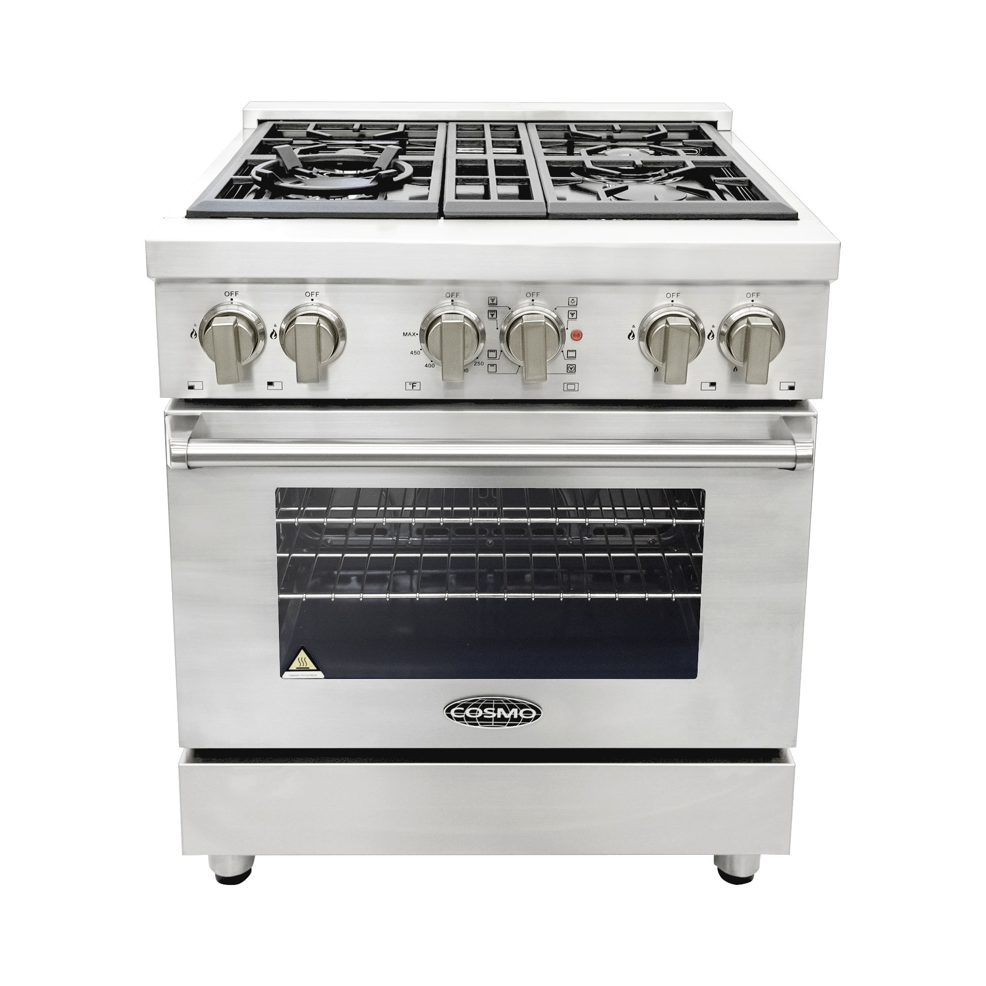 Cosmo Ranges COS-DFR304 30 in. Dual Fuel Range with 4 Italian Made Burners and Convection Oven