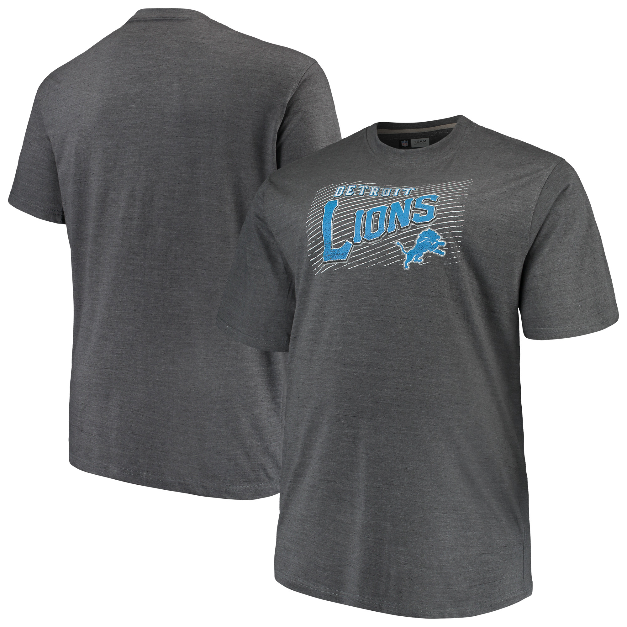 Men's Majestic Charcoal Detroit Lions Big & Tall Royal Domination Malt T-Shirt