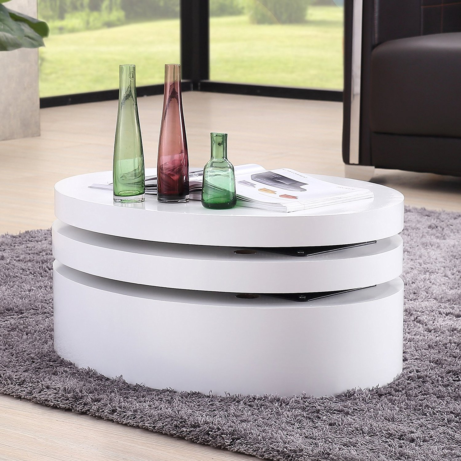 Uenjoy White Round Coffee Table Rotating Contemporary Modern Living Room Furniture