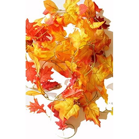set of 3 autumn garlands with artificial mixed fall color leaves - 5 foot x 3, 15 total!!