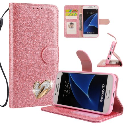 Galaxy S7 Case Wallet, Samsung Galaxy S7 Case, Allytech Glitter Folio Kickstand with Wristlet Lanyard Shiny Sparkle Luxury Bling Card Slots Slim Cover for Samsung Galaxy S7 (Pink)