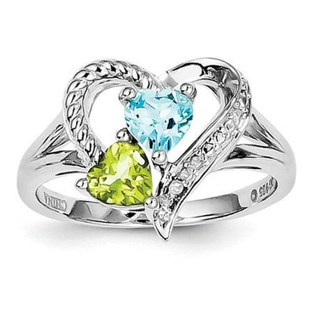 Sterling Silver Blue Topaz Peridot Diamond Ring Gem Wt- - Citrine Peridot Ring